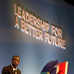 © Licensed to London News Pictures. 04/10/2011. Manchester, UK. Year 13 pupil, Quddus Akinwale, sits on the Schools Panel, hosted by Education Secretary, Michael Gove at the Conservative Party Conference in Manchester. Photo credit : Joel Goodman/LNP