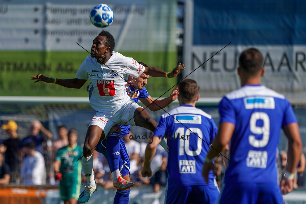 15.09.2019; Wohlen; FUSSBALL SCHWEIZER CUP - FC Wohlen - FC Luzern;<br /> Ibrahima Ndiaye (Luzern) Esat Balaj (Wohlen) <br /> (Andy Mueller/freshfocus)