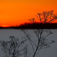"""""""Gone is the Sun""""<br /> <br /> Beautiful vibrant, yet serene sunset image! <br /> A wonderful mid-winter sunset in a glowing orange hue over a snow covered lake!!<br /> <br /> Sunset Images by Rachel Cohen"""