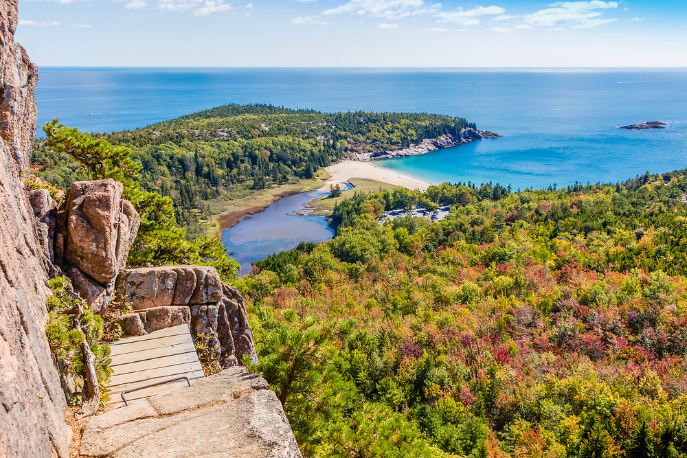One of many stunning views from the venerable Beehive Trail in Acadia National Park.