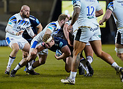 Sale Sharks prop Ross Harrison drives into the Bath defenceduring a Gallagher Premiership Round 9 Rugby Union match, Friday, Feb 12, 2021, in Leicester, United Kingdom. (Steve Flynn/Image of Sport)