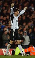 Photo. Daniel Hambury.<br /> Barclays Premiership.<br /> Chelsea v Middlesborough. 4/1/2005.<br /> Chelsea's Petr Cech celebrates victory