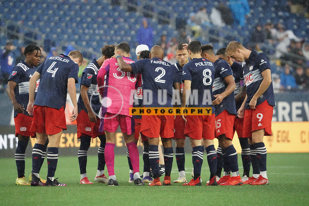 huddle before New England Revolution and Nashville SC MLS match in FOXBORO, MA on Wednesday, August 4, 2021  The match ended in 0-0. CREDIT/ CHRIS ADUAMA