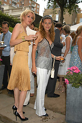 Left to right, MISS ANTONIA HEDLEY-DENT and FRANCESCA VERSACE at the Tatler Summer Party in association with Moschino at Home House, 20 Portman Square, London W1 on 29th June 2005.<br />