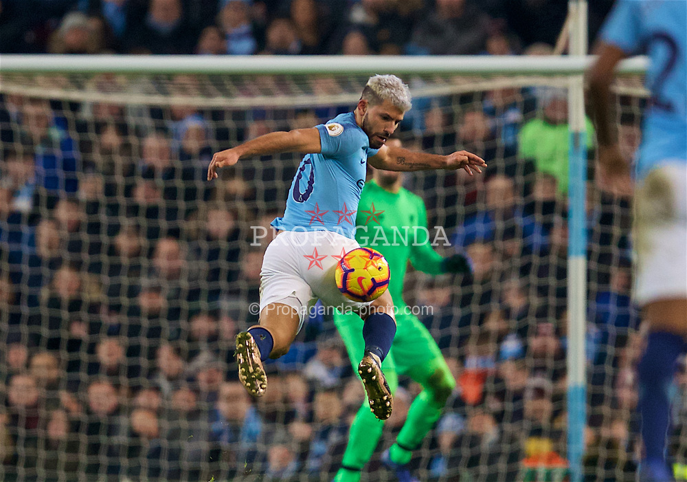 MANCHESTER, ENGLAND - Thursday, January 3, 2019: Manchester City's Sergio Aguero during the FA Premier League match between Manchester City FC and Liverpool FC at the Etihad Stadium. (Pic by David Rawcliffe/Propaganda)
