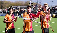 EINDHOVEN - Rizwan Muhammad (Oranje-Rood) , Robert van de Horst (Oranje-Rood) en Joep de Mol (Oranje-Rood)  bedanken het publiek  na  de kwartfinale van de Euro Hockey League (EHL) tussen Oranje-Rood en Atletic Terrassa (2-0) in Eindhoven. De Nederlands kampioen strijdt op tweede paasdag met de Spaanse club om een plek in de Final Four, begin juni op het complex van KHC Dragons in de Belgische plaats Brasschaat. ANP KOEN SUYK