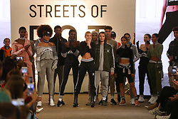 Hailey Baldwin (centre) and models during 'Streets of EQT', a street style presentation to celebrate Hailey Baldwin's new Adidas EQT campaign during London Fashion Week SS18 held at The Old Truman Brewery, London. Picture Date: Friday 15 September. Photo credit should read: Isabel Infantes/PA Wire