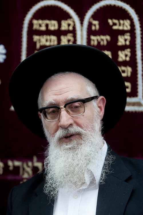 Rabbi Ya'akov Yosef, son of Rabbi Ovadia Yosef and the one who gave halachic backing to fight against discrimination and segregation in Beit Ya'akov religious school for girls in Emmanuel, is seen during a rally in support of him in Jerusalem on June 23, 2010.