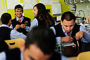 Students at Instituto Health Sciences Career Academy work on a project during a freshman science class. The school is operated by Instituto Progresso Latino, a Chicago-based not-for-profit incorporated in 1977 to help Latino immigrants adjust to American life through English lessons, education, and employment services. 11/17/11