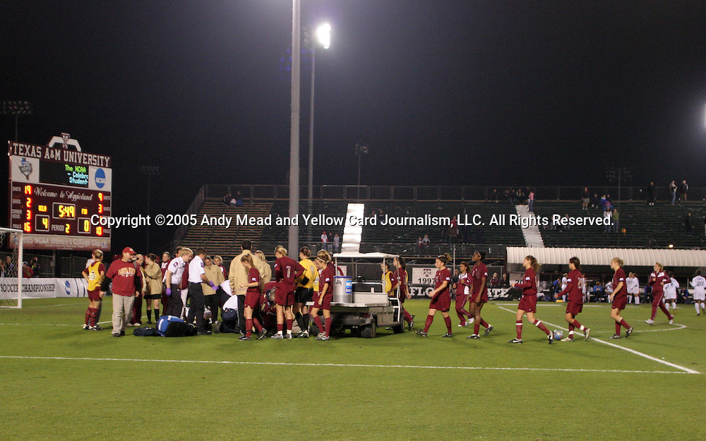 2 December 2005: Florida State's team checks on teammate Melissa Samokishyn who is being treated on the field for a broken leg. The UCLA Bruins defeated the Florida State Seminoles 4-0 in their NCAA Division I Women's College Cup semifinal at Aggie Soccer Stadium in College Station, TX.