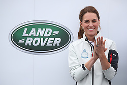 The Duchess of Cambridge ahead of the prize giving for the King's Cup regatta at Cowes on the Isle of Wight. The royal couple went head to head in the regatta in support of their charitable causes.