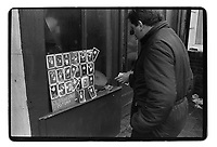 Man selling old time star's pictures, 1982 South-East London, 1982