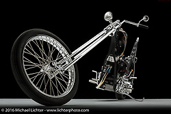 Maui custom bike builder Noah O'Geen's panhead chopper. Photographed by Michael Lichter in Sturgis, SD on August 14, 2016. ©2016 Michael Lichter.