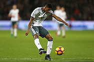Marcus Rashford of Manchester United taking a shot at goal. Premier league match, West Ham Utd v Manchester Utd at the London Stadium, Queen Elizabeth Olympic Park in London on Monday 2nd January 2017.<br /> pic by John Patrick Fletcher, Andrew Orchard sports photography.