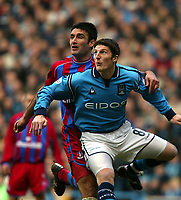 Fotball: Manchester City John Macken and Crystal Palace Hayden Mullins. Saturday March 16th 2002.<br />Foto: David Rawcliffe, Digitalsport