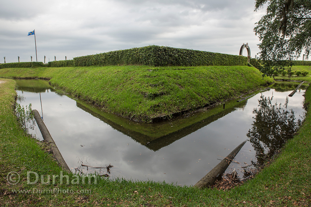 A moat surrounds the replica of Fort Caroline found in Timucuan Ecological and Historic Preserve. Fort Caroline memorializes the short-lived French presence in sixteenth century Florida.