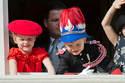 Prince Jacques, Princess Gabriella of Monaco, Kaya-Rose Wittstock attending the military procession held in the Palace Square, during the National Day ceremonies, Monaco Ville (Principality of Monaco), on november 19th, 2019. Photo by Marco Piovanotto/ABACAPRESS.COM
