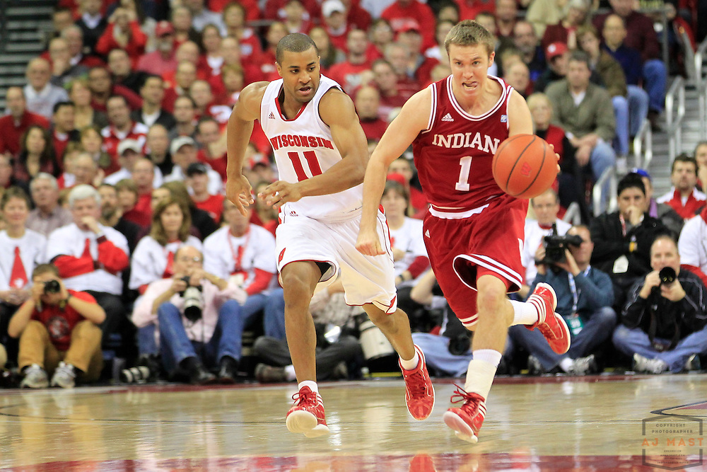 26 January 2012: Indiana Guard Jordan Hulls (1)   as the Indiana Hoosiers played the Wisconsin Badgers in a college basketball game in Madison, WI.