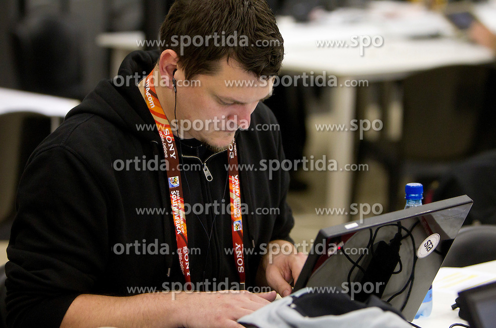 Slovenian journalist Leon Rosa working after the 2010 FIFA World Cup South Africa Group C Third Round match between Slovenia and England on June 23, 2010 at Nelson Mandela Bay Stadium press center, Port Elizabeth, South Africa.  (Photo by Vid Ponikvar / Sportida)