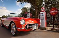 Route 66,  Hackberry General Store, Hackberry, Arizona, Corvette, red, Chevrolet, vintage car, sports car, gas station, vintage, 1957, vintage gas station