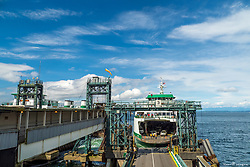 United States, Washington, Seattle, ferry being loaded at downtown pier