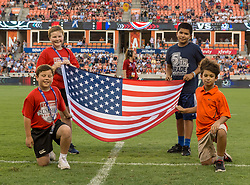 June 16, 2018 - Houston, Texas, US - Pre game at the Emirates Summer Series 2018 match between USA Men's Team vs Scotland Men's Team at BBVA Compass Stadium, Houston, Texas (Credit Image: © Maria Lysaker via ZUMA Wire)