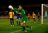 AFC Wimbledon's James Shea in action during todays match against Southend United<br /> <br /> Photographer Ashley Western/CameraSport<br /> <br /> Football - Johnstone's Paint Southern Area First Round - AFC Wimbledon v Southend United - Tuesday 2nd September 2014 - The Cherry Red Records Fans' Stadium - London<br />  <br /> © CameraSport - 43 Linden Ave. Countesthorpe. Leicester. England. LE8 5PG - Tel: +44 (0) 116 277 4147 - admin@camerasport.com - www.camerasport.com