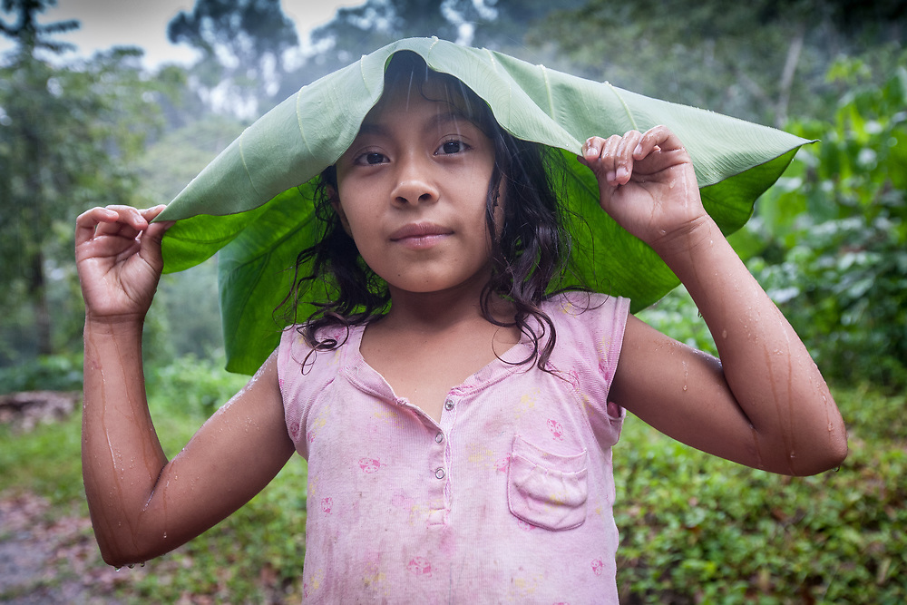 A young girl protects herself from the rain with a malanga leaf at a CORCASAN coffee farm in San Juan de Rio Coco.