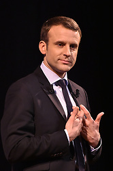 French presidential election candidate for the En Marche movement Emmanuel Macron attending an event organised by the collective Elles Marchent (They Walk in feminine in French), during International Women's Day on March 8, 2017, in Paris. Photo by Christian Liewig/ABACAPRESS.COM