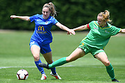 Southern United's Britney-Lee Nicholson under pressure in the National womens league football match, Central Football v Southern United, Massey University, Palmerston North, Sunday, December 02, 2018. Copyright photo: Kerry Marshall / www.photosport.nz