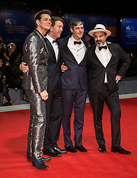 """Jim Carrey and Chris Smith (director), Danny Gabai, Eddy Moretti arriving to the premiere of """"Jim & Andy: the Great Beyond - the Story of Jim Carrey & Andy Kaufman with a Very Special, Contractually Obligated Mention of Tony Clifton"""" as part of the 74th Venice International Film Festival (Mostra) in Venice, Italy on September 5, 2017. Photo by Marco Piovanotto/ABACAPRESS.COM"""