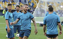May 25, 2018 - Kiev, Ukraine - Real Madrid's Sergio Ramos is seen during their training session for UEFA Champions League Final against Liverpool FC at NSC Olimpiyskyi in Kyiv, Ukraine, May 25, 2018. UEFA Champions League Final  (Credit Image: © Sergii Kharchenko/NurPhoto via ZUMA Press)