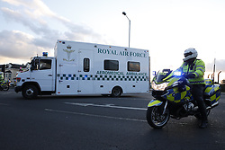 © Licensed to London News Pictures. 23/02/2016. London, UK. An ambulance carrying nurse Pauline Cafferkey is  police escorted from RAF Northolt.  The Scottish nurse contracted the Ebola virus in Sierra Leone in 2014 and has been admitted to the Royal Free hospital in London with the condition twice before .  Photo credit: Peter Macdiarmid/LNP