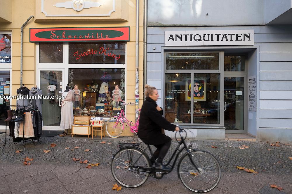 Independent shops in  upmarket Hufelandstrasse in gentrified district of Prenzlauer Berg in Berlin Germany