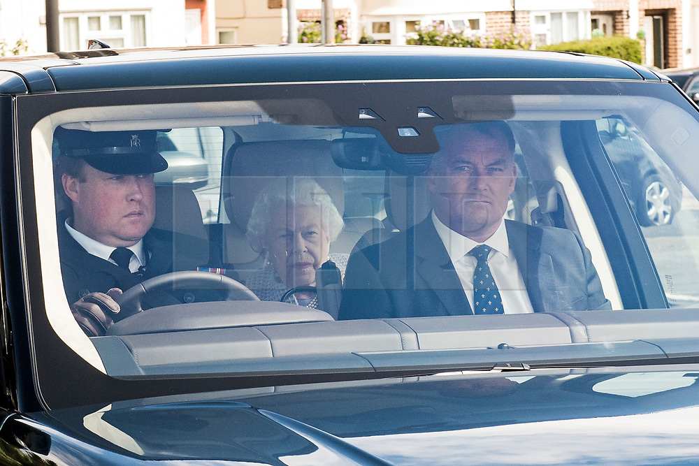 © Licensed to London News Pictures. 04/08/2020. London, UK. QUEEN ELIZABETH II and PRINCE PHILIP (not pictured) arrive at RAF Northolt in London to board a plane to take them to their Balmoral residence in Scotland for summer break. Photo credit: Ben Cawthra/LNP