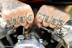 Cameron Carter's Knuckles on his Harley-Davidson Knuckle rockers at the Born-Free Vintage Motorcycle show at Oak Canyon Ranch, Silverado, CA, USA. Sunday, June 23, 2019. Photography ©2019 Michael Lichter.