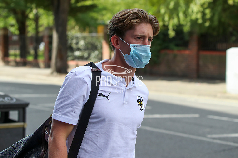 AFC Wimbledon midfielder Alex Woodyard (4) arriving for the game during the EFL Trophy Group O match between AFC Wimbledon and Charlton Athletic at the Kiyan Prince Foundation Stadium, London, England on 1 September 2020.