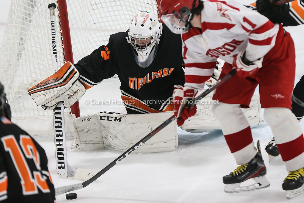 (1/1/20, MARLBOROUGH, MA) Marlborough goalie Billy McCarthy makes a save during the consolation game of the Daily News Cup against Hudson at New England Sports Center in Marlborough on Wednesday. [Daily News and Wicked Local Photo/Dan Holmes]