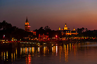 Italy pavilion and the American Adventure, World Showcase, Epcot, Walt Disney World, Orlando, Florida USA