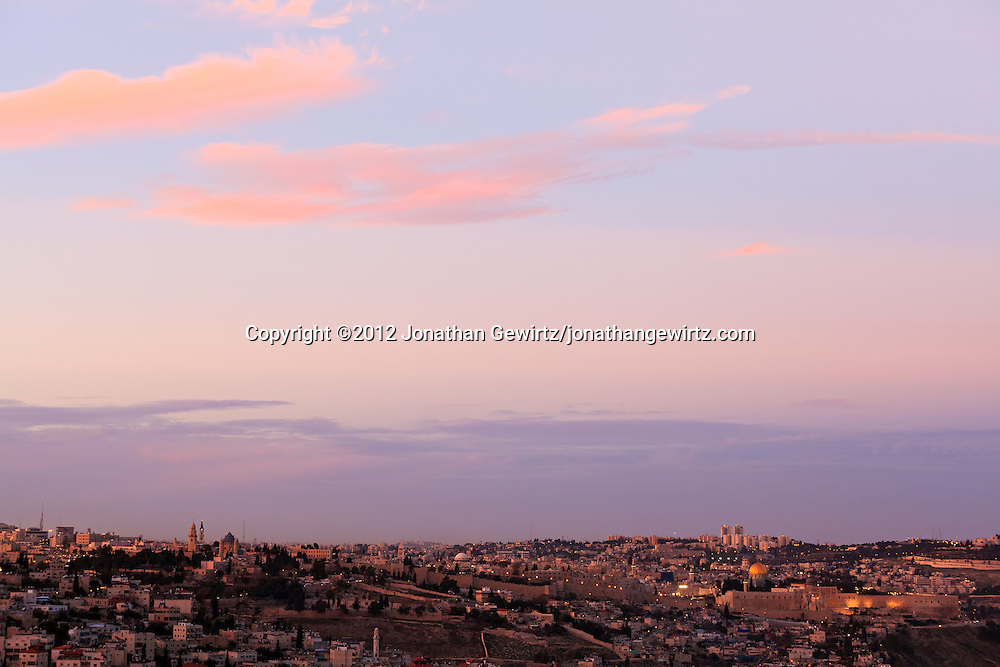 Twilight view from the South of the new and old cities of Jerusalem. WATERMARKS WILL NOT APPEAR ON PRINTS OR LICENSED IMAGES.