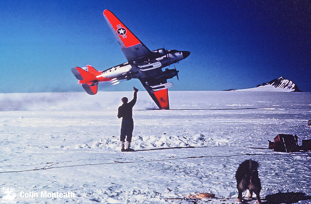 R4D (modified to LC-47H) hits wing-tip and crashes after jato bottles misfires and goes through a prop, Davis Glacier, North Victoria land (No-one killed)  Photo: Dave Skinner & John Ricker in NZARP camp with dogs, November 1962.