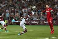 Michail Antonio of West Ham United stretches for the ball to attempt to score but misses. UEFA Europa league, 1st play off round match, 2nd leg, West Ham Utd v Astra Giurgiu at the London Stadium, Queen Elizabeth Olympic Park in London on Thursday 25th August 2016.<br /> pic by John Patrick Fletcher, Andrew Orchard sports photography.