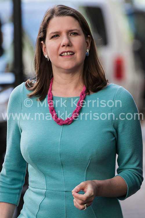 London, UK. 14 May, 2019.  Jo Swinson MP, Deputy Leader of the Liberal Democrats, arrives to launch a poster criticising Labour Party Leader Jeremy Corbyn's cooperation with the Conservative Party in attempting to deliver Brexit to be used as part of the Liberal Democrats' European election campaign.