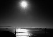 San Francisco Golden Gate Bridge Black and White at Night