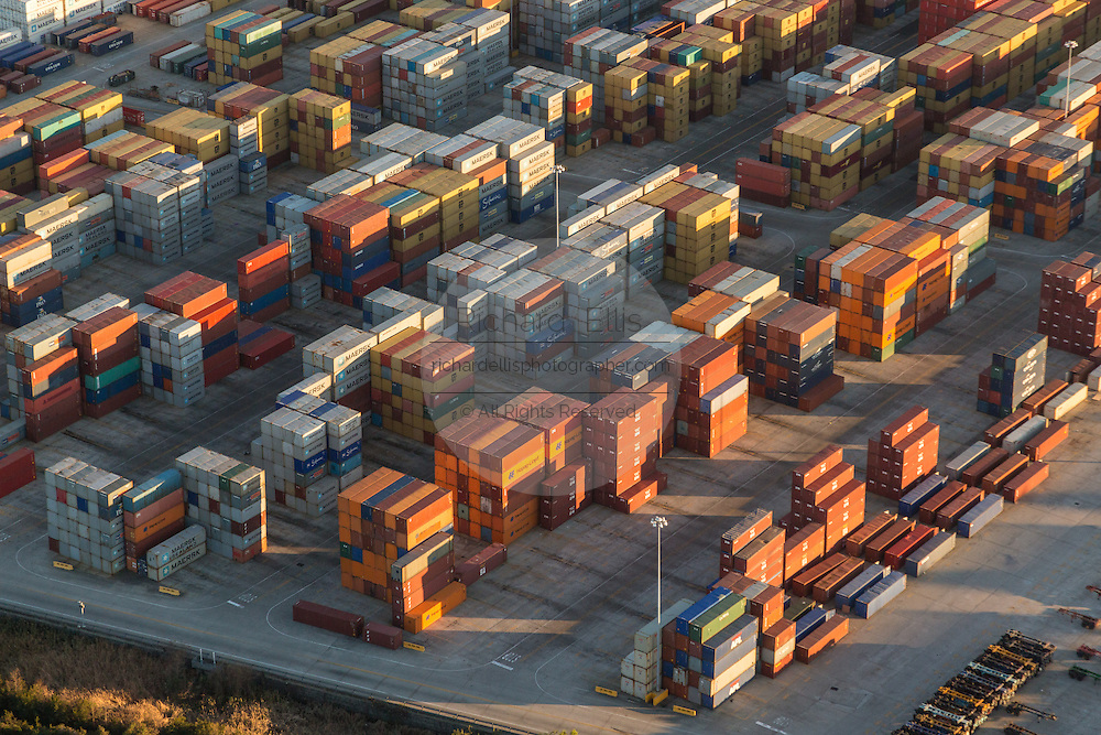 Aerial view of stacks of containers in the Wando Welch shipping container port in Mt Pleasant, SC