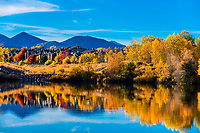 Autumn color at a lake in Littleton, Colorado USA