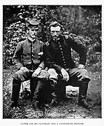 On the left sits Lieutenant J. B. Washington, C. S. A., who was an aide to General Johnston at Fair Oaks. Beside him sits Lieutenant George A. Custer, of the Fifth U. S. Cavalry, aide on McClellan s staff, later famous cavalry general and Indian fighter. Both men were West Point graduates and had attended the mili tary academy together. On the morning of May 31, 1862, at Fair Oaks, Lieutenant Washington was captured by some of General Casey s pickets. Later in the day his former classmate ran across him and a dramatic meeting was thus recorded by the camera. from the book ' The Civil war through the camera ' hundreds of vivid photographs actually taken in Civil war times, sixteen reproductions in color of famous war paintings. The new text history by Henry W. Elson. A. complete illustrated history of the Civil war