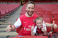 Arsenal fans in good spirits before kick-off at the Premier League match between Arsenal and West Ham United at the Emirates Stadium, London, England on 22 April 2018. Picture by Bennett Dean.