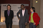 Kutlug Ataman, Yinka Shonibare and Jeremy Deller, 2004 Turner prize. Tate Britain. 7 December 2004. ONE TIME USE ONLY - DO NOT ARCHIVE  © Copyright Photograph by Dafydd Jones 66 Stockwell Park Rd. London SW9 0DA Tel 020 7733 0108 www.dafjones.com