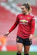 Manchester United defender Amy Turner (4) Portrait half body during the FA Women's Super League match between Manchester United Women and Manchester City Women at Leigh Sports Village, Leigh, United Kingdom on 14 November 2020.